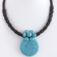 ROUND FLORAL SEMI PRECIOUS GEM ACCENT NECKLACE
