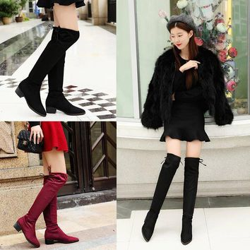 Hot Deal On Sale Stretch Winter Pointed Toe Suede Boots [120849956889]