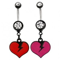 Clear Jeweled Broken Heart Design Belly Ring - 14g (1.6mm), 3/8