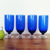 Large Cobalt Blue Glass Drinking Cups, Goblets, Blue with Clear Glass Base Set of 4 Tall Water Glasses, FREE US Shipping