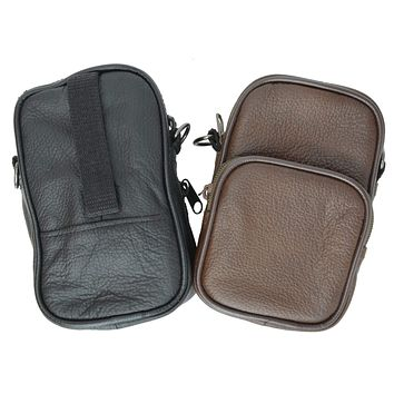 100% Leather Camera Pouch with Strap with Extra Zipper Compartment