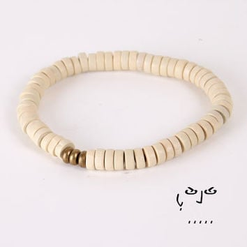 VujuWear Beige Wood and Brass Men's Beaded Stretch Bracelet