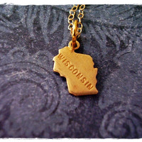 Tiny Gold Wisconsin State Necklace - Raw Brass Wisconsin Charm on a Delicate 18 Inch 14KT Gold Filled Cable Chain