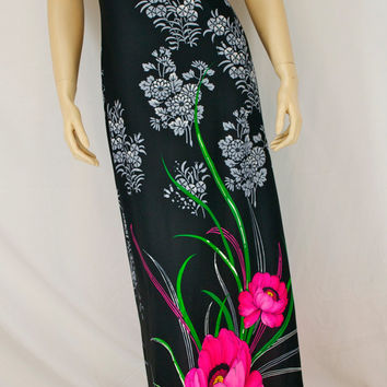 Vintage 60s Fredericks of Hollywood BLACK Tropical FLORAL Print Knit Maxi Sun DRESS