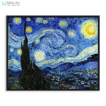 Vincent Van Gogh Famous Artist Starry Night Landscape Oil Canvas Poster Print Impressionism Big Wall Picture Home Decor Painting