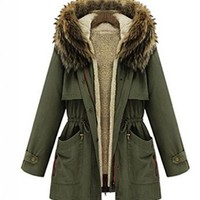 WIIPU Women's Thicken Fleece Warm Faux Fur Winter Coat (JA62)