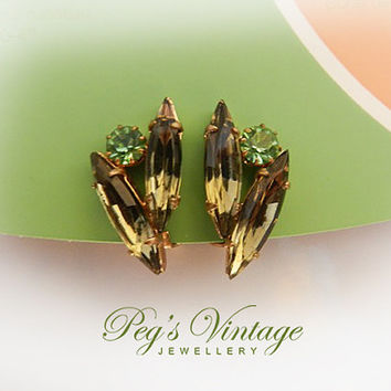 Vintage Navette Topaz And Green Rhinestone Earrings, Gold Tone Clip On Earrings