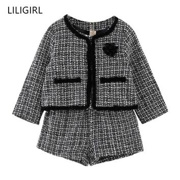 LILIGIRL Kids Girls Temperament Clothing Set 2019 New Plaid Jacket+Shorts 2pcs Suit for Baby Girl Good Quality Tracksuit Costume