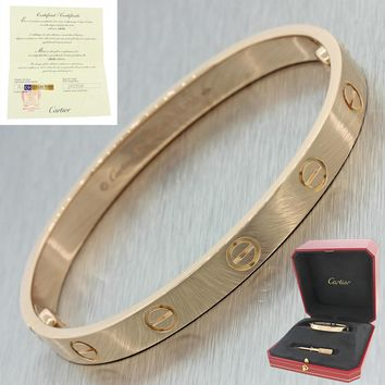 Unworn 2016 Cartier Love 18k Rose Gold Screw Bangle Bracelet Box Papers 16