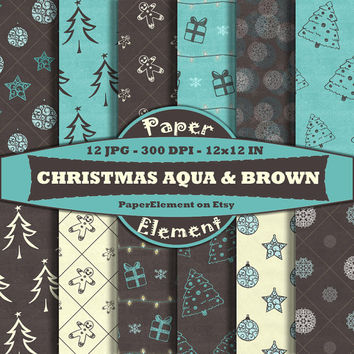 Aqua Blue Christmas Digital Paper Pack with Brown - Instant Download - Digital Christmas Paper for Scrapbooking