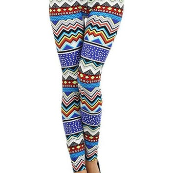 Colorful Blue Summer Leggings Tribal Chevron Aztec Pattern- Yoga Leggings - Yoga Tights - Workout Leggings - Art Leggings - Running Leggings
