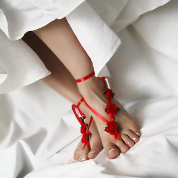 Red Wedding Barefoot Sandals with Satin Ribbon Flowers, Hippie Beach Sandles, Boho Nude Shoes, Yoga Anklet Jewelry by Elvish Things