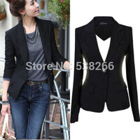 2017 Women Slim Casual Business Blazer Jackets Suit One Button Slim Yellow Ladies Blazers Work Wear Blaser