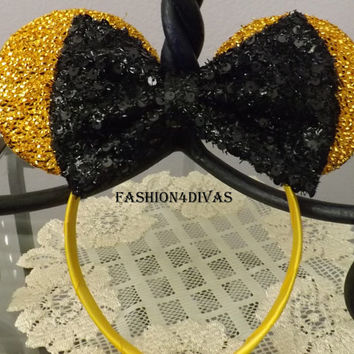 Minnie Mouse Ears Headband Gold Sparkle Black Sequin Bow Mickey Mouse Ears, Disneyland, Disney World, Holiday Mouse Ears