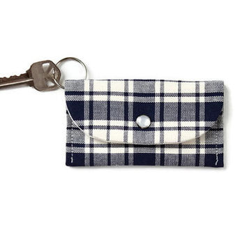 Blue Plaid Keychain ID Wallet, Navy Blue Student ID Holder, Key Ring Cardholder, Dorm Key Ring Wallet with Free Shipping