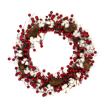 Cotton Red Berry Wreath