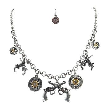 Vintage Western Lady Shooter Wild West Six Shooter Guns and Bullets Charm statement necklace