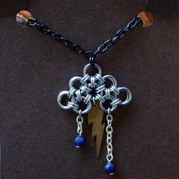 Lightning Bolt Storm Cloud Chainmail Pendant in Ice Black with Lapis Lazuli Beads