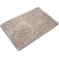 [Updated] VDOMUS Non-slip Microfiber Shag Bath Mat Bathroom Mats Shower Rugs - Beige/Khaki 20 x 32 inches