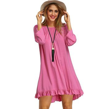 Sexy Pure Color Half Sleeve Back Hollow Out Tassels Ladies Dress