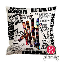 Band Collage 5SOS Imagine Dragon Mayday Parade Arctic Monkeys Cushion Case / Pillow Case