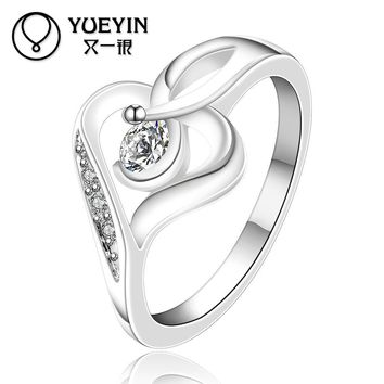 Brilliant Cubic Zirconia Rings Silver Plated Rings For Women Wedding Party Fashion Jewelry Inlaid Crystal Bridal (7)