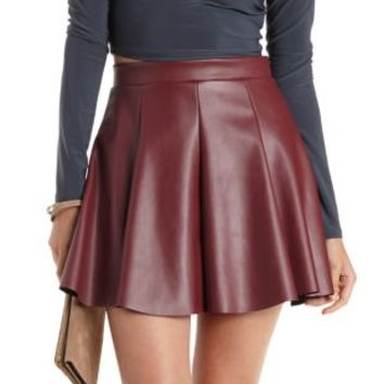Oxblood Pleated Faux Leather Skater Skirt by Charlotte Russe