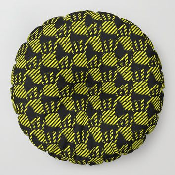 Yellow and black hands pattern, construction stripes palms theme, striped palm prints design Floor Pillow by hmdesignspl