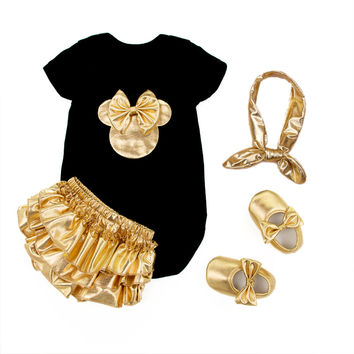 2016 Baby Girl Clothing 4pcs Sets Black Cotton Rompers Golden Ruffle Bloomers Shorts Shoes Headband Infant Newborn Clothes