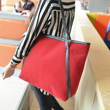 Stylish Korean Ladies Bags Simple Design Casual Matte Shoulder Bags Tote Bag [6582697671]