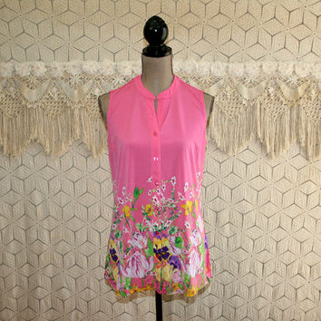 Womens Summer Tops Sleeveless Knit Blouse Button Up Floral Shirt Casual Collarless Pink Print Long Loose Fit Small Medium Womens Clothing