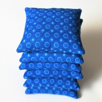 Royal Blue Bean Bags (set of 6) Educational Toys Sensory Perception Counting Games (Includes US Shipping)