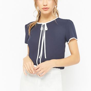 Chiffon Contrast-Bow Top