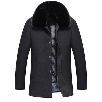 Medium Long Thicken Warm Wool Cashmere Coat Detachable Lining Big Fur Collar Winter Jacket Men