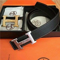 HERMES Stylish Men Women Reversible Double 2H Golden Sliver Buckle Black Leather Belt I/A