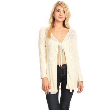 Cream, Knit Jacket with Appliques