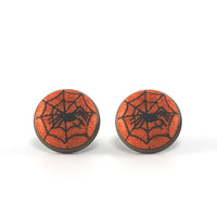 Halloween Stud Earrings, Spider on Web, Autumn Orange Studs, Natural Rustic, Fabric Buttons Jewelry, Antique Posts, Black Halloween Party