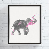 Elephant Art Print, Baby Girl Nursery, Watercolor Elephant, Girls Room Decor, Baby Gifts, Nursery Wall Art, Elephant Decor, Art for Kids