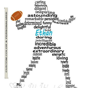 Personalized Boy Football Player Art, Unique Handmade Word Art Typography, Football Player Word Art, PRINTABLE DIGITAL FILE