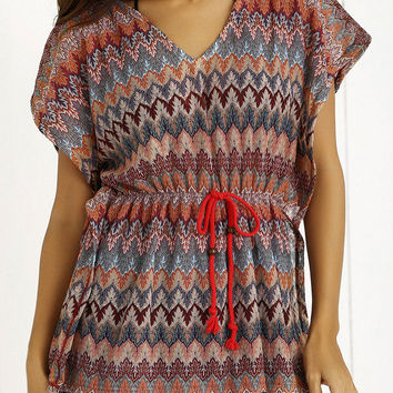 Multicolor Ethnic Striped Drawsting Tee