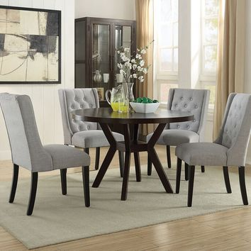 "Acme 16250-59768 5 pc drake espresso finish wood 48"" round dining table set"