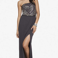 sequin embellished strapless maxi dress from EXPRESS