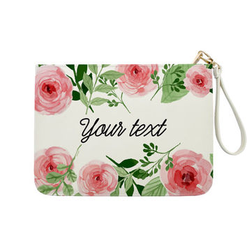 Watercolor Floral Customization - 7x9 in Faux Leather Handbag - Clutch - Pouch - HBCUS-001