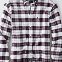 AEO Men's Oxford Plaid Button Down Shirt (Burgundy)