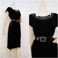 40s 50s Dress Vintage Rayon Velvet with Jeweled by voguevintage