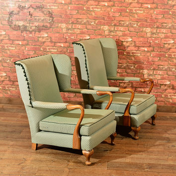Pair of Mid Century Wing Back Chairs