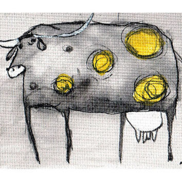 Mini ink painting on canvas 3,5x2,5in art card - Yellow dotted cow