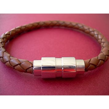 Mens Stainless Steel and Saddle Braided Leather Bracelet with Magnetic Clasp,Mens Bracelet, Mens Jewelry