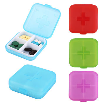 New Portable 4 Slot Medicine Case Organizer Plastic Pill Drug Boxes Container Compartment Medicine Tablet Holder