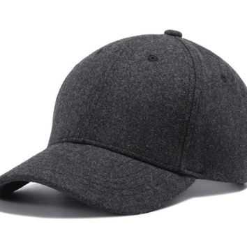 Black or Gray Wool Snap-back Baseball Cap
